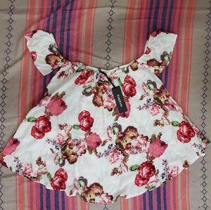 BEBE floral boho blouse